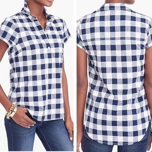 NEW J. Crew Gingham Popover Top Small